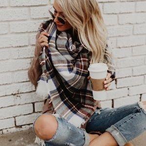 ❗️2 LEFT❗️ Plaid Cashmere Oversized Blanket Scarf